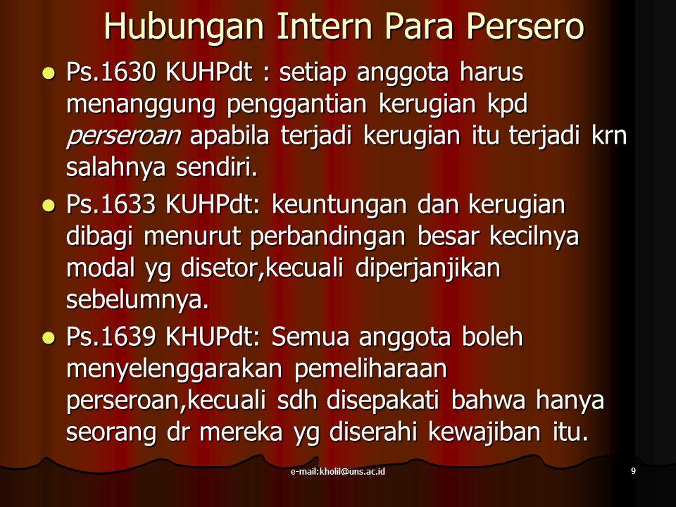 e-mail:kholil@uns.ac.id 9 Hubungan Intern Para Persero Ps.1630 KUHPdt : setiap anggota harus menanggung penggantian kerugian kpd perseroan apabila ter