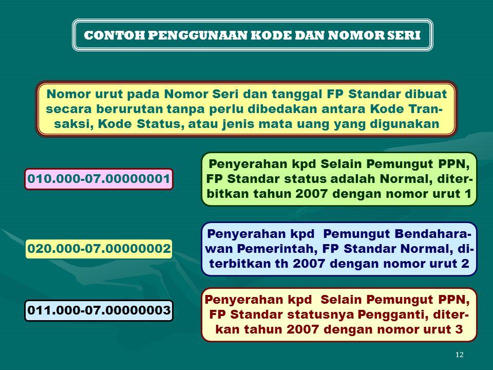 12 CONTOH PENGGUNAAN KODE DAN NOMOR SERI Nomor urut pada Nomor Seri dan tanggal FP Standar dibuat secara berurutan tanpa perlu dibedakan antara Kode Tran- saksi, Kode Status, atau jenis mata uang yang digunakan 010.000-07.00000001 Penyerahan kpd Selain Pemungut PPN, FP Standar status adalah Normal, diter- bitkan tahun 2007 dengan nomor urut 1 020.000-07.00000002 Penyerahan kpd Pemungut Bendahara- wan Pemerintah, FP Standar Normal, di- terbitkan th 2007 dengan nomor urut 2 011.000-07.00000003 Penyerahan kpd Selain Pemungut PPN, FP Standar statusnya Pengganti, diter- kan tahun 2007 dengan nomor urut 3