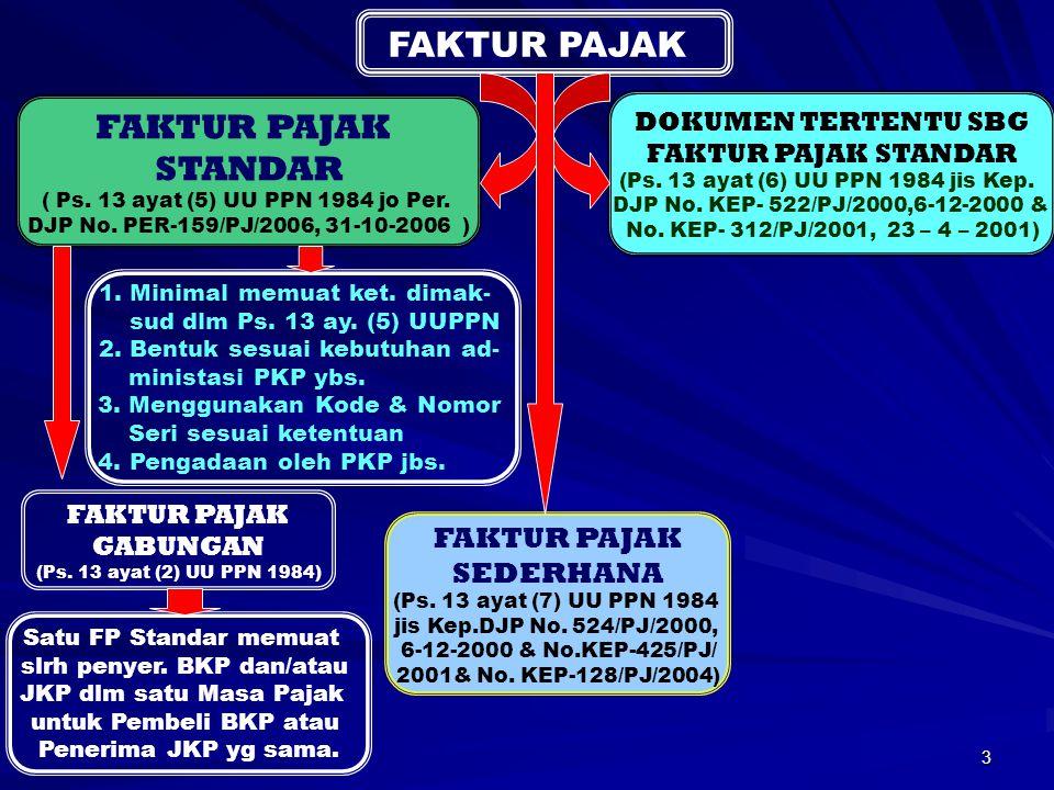 3 JENIS FP FAKTUR PAJAK STANDAR ( Ps. 13 ayat (5) UU PPN 1984 jo Per. DJP No. PER-159/PJ/2006, 31-10-2006 ) FAKTUR PAJAK GABUNGAN (Ps. 13 ayat (2) UU