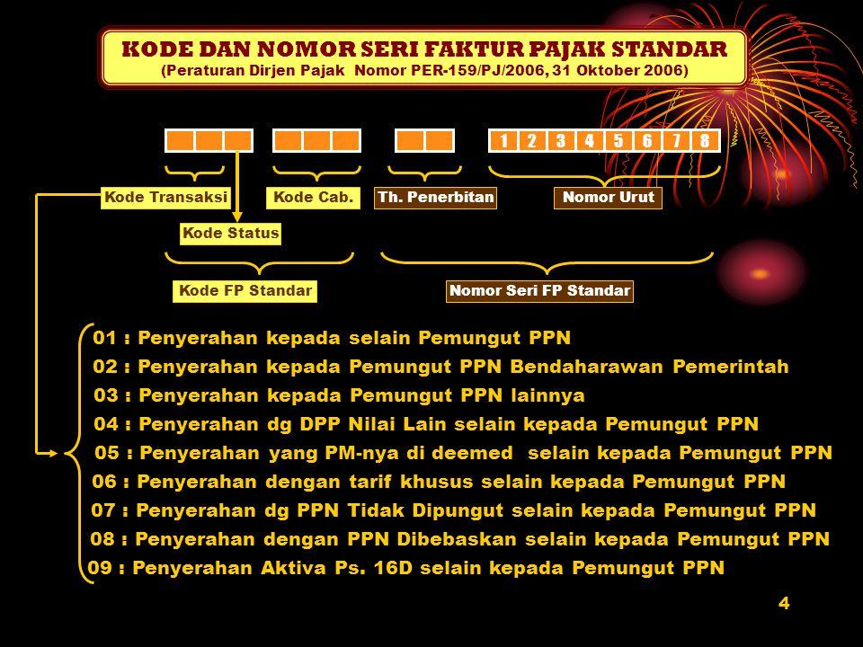 4 KODE DAN NOMOR SERI FAKTUR PAJAK STANDAR (Peraturan Dirjen Pajak Nomor PER-159/PJ/2006, 31 Oktober 2006) 12345678 Kode Transaksi Kode Status Kode Ca