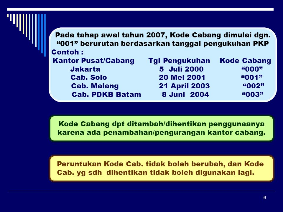 """6 Pada tahap awal tahun 2007, Kode Cabang dimulai dgn. """"001"""" berurutan berdasarkan tanggal pengukuhan PKP Contoh : Kantor Pusat/Cabang Tgl Pengukuhan"""