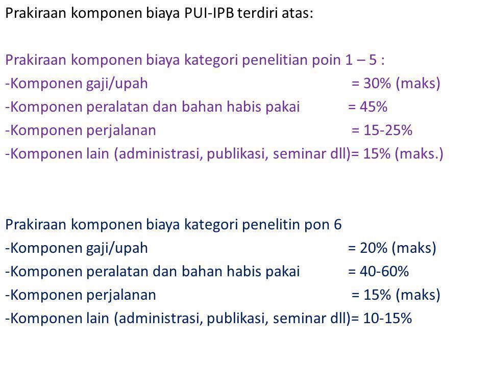 Prakiraan komponen biaya PUI-IPB terdiri atas: Prakiraan komponen biaya kategori penelitian poin 1 – 5 : -Komponen gaji/upah = 30% (maks) -Komponen pe