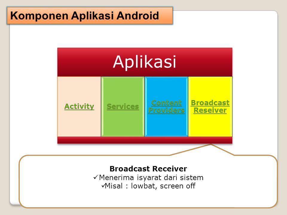 Komponen Aplikasi Android Broadcast Receiver Menerima isyarat dari sistem Misal : lowbat, screen off Aplikasi
