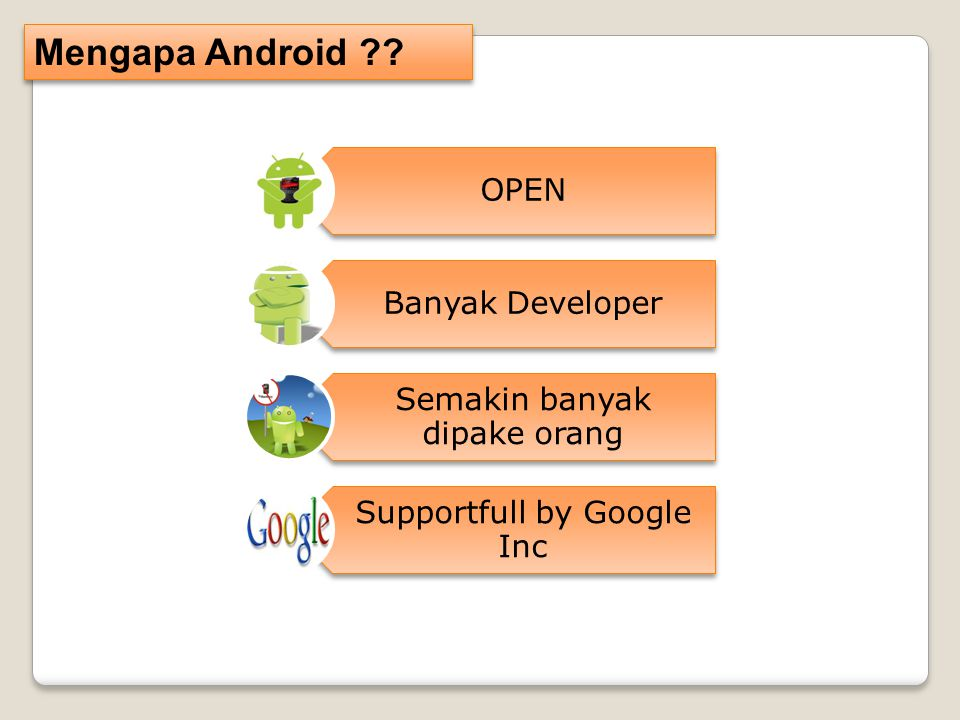 Mengapa Android OPEN Banyak Developer Semakin banyak dipake orang Supportfull by Google Inc