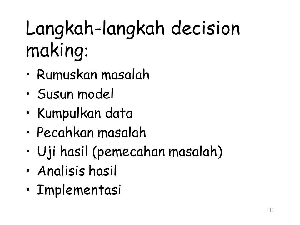 11 Langkah-langkah decision making : Rumuskan masalah Susun model Kumpulkan data Pecahkan masalah Uji hasil (pemecahan masalah) Analisis hasil Impleme