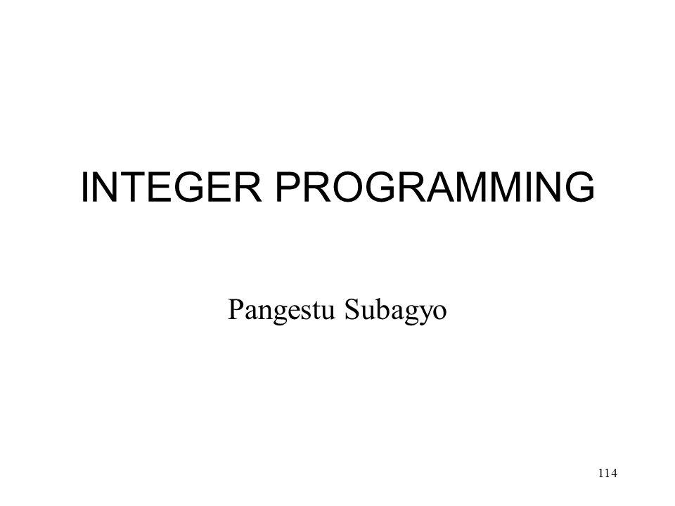 114 INTEGER PROGRAMMING Pangestu Subagyo