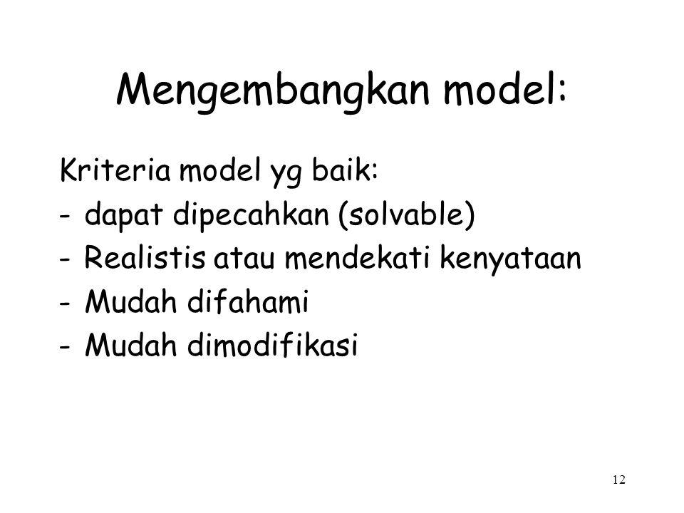 12 Mengembangkan model: Kriteria model yg baik: -dapat dipecahkan (solvable) -Realistis atau mendekati kenyataan -Mudah difahami -Mudah dimodifikasi