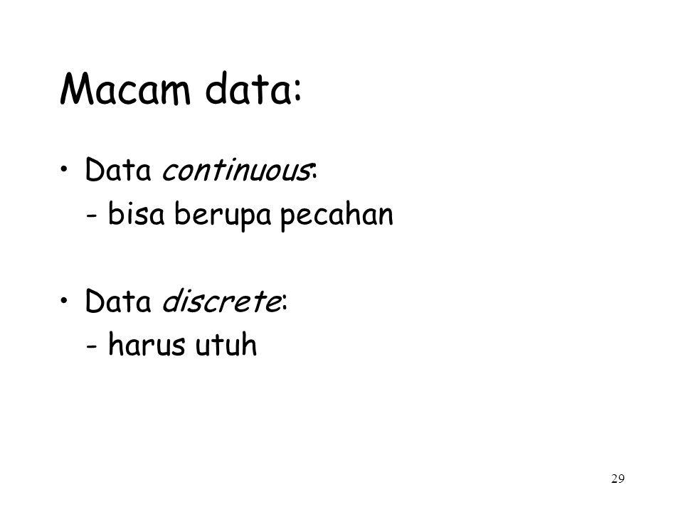 29 Macam data: Data continuous: - bisa berupa pecahan Data discrete: - harus utuh