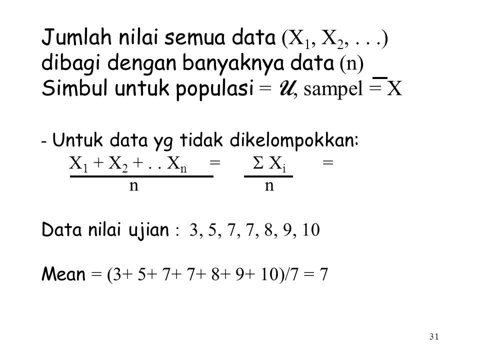 31 Jumlah nilai semua data (X 1, X 2,...) dibagi dengan banyaknya data (n) Simbul untuk populasi = U, sampel = X - Untuk data yg tidak dikelompokkan: