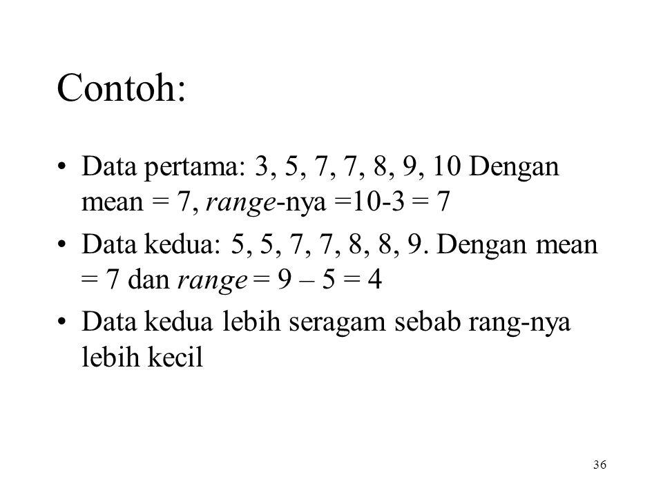 36 Contoh: Data pertama: 3, 5, 7, 7, 8, 9, 10 Dengan mean = 7, range-nya =10-3 = 7 Data kedua: 5, 5, 7, 7, 8, 8, 9. Dengan mean = 7 dan range = 9 – 5