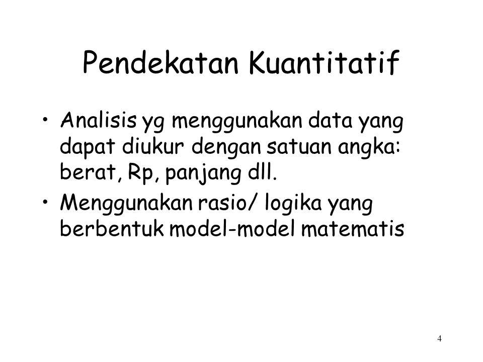 4 Pendekatan Kuantitatif Analisis yg menggunakan data yang dapat diukur dengan satuan angka: berat, Rp, panjang dll. Menggunakan rasio/ logika yang be