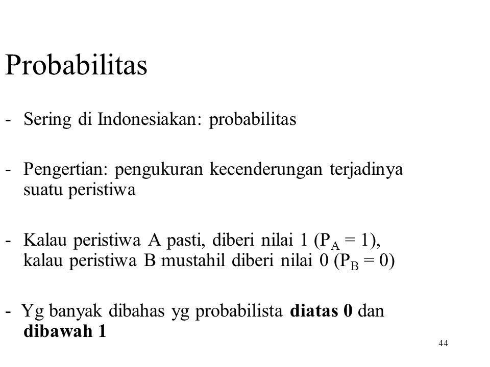 44 Probabilitas -Sering di Indonesiakan: probabilitas -Pengertian: pengukuran kecenderungan terjadinya suatu peristiwa -Kalau peristiwa A pasti, diber