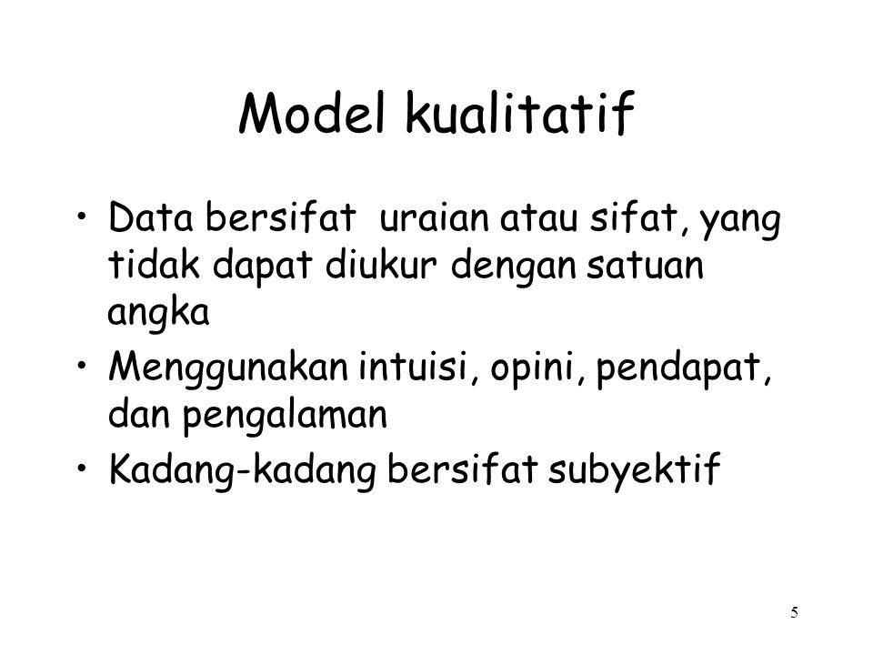 5 Model kualitatif Data bersifat uraian atau sifat, yang tidak dapat diukur dengan satuan angka Menggunakan intuisi, opini, pendapat, dan pengalaman K