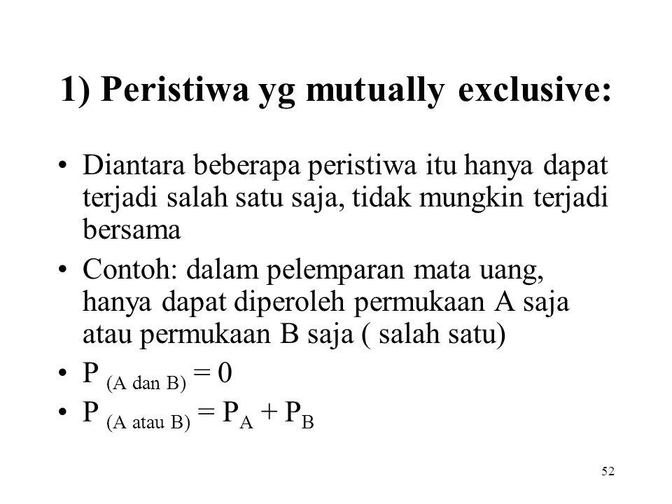 52 1) Peristiwa yg mutually exclusive: Diantara beberapa peristiwa itu hanya dapat terjadi salah satu saja, tidak mungkin terjadi bersama Contoh: dala