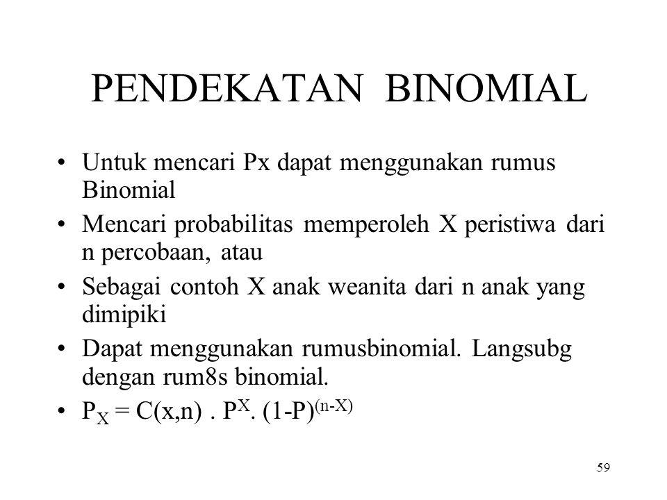 59 PENDEKATAN BINOMIAL Untuk mencari Px dapat menggunakan rumus Binomial Mencari probabilitas memperoleh X peristiwa dari n percobaan, atau Sebagai co
