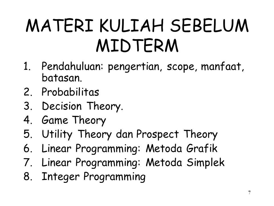 7 MATERI KULIAH SEBELUM MIDTERM 1.Pendahuluan: pengertian, scope, manfaat, batasan. 2.Probabilitas 3.Decision Theory. 4.Game Theory 5.Utility Theory d