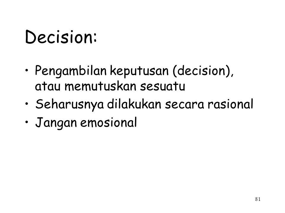 81 Decision: Pengambilan keputusan (decision), atau memutuskan sesuatu Seharusnya dilakukan secara rasional Jangan emosional