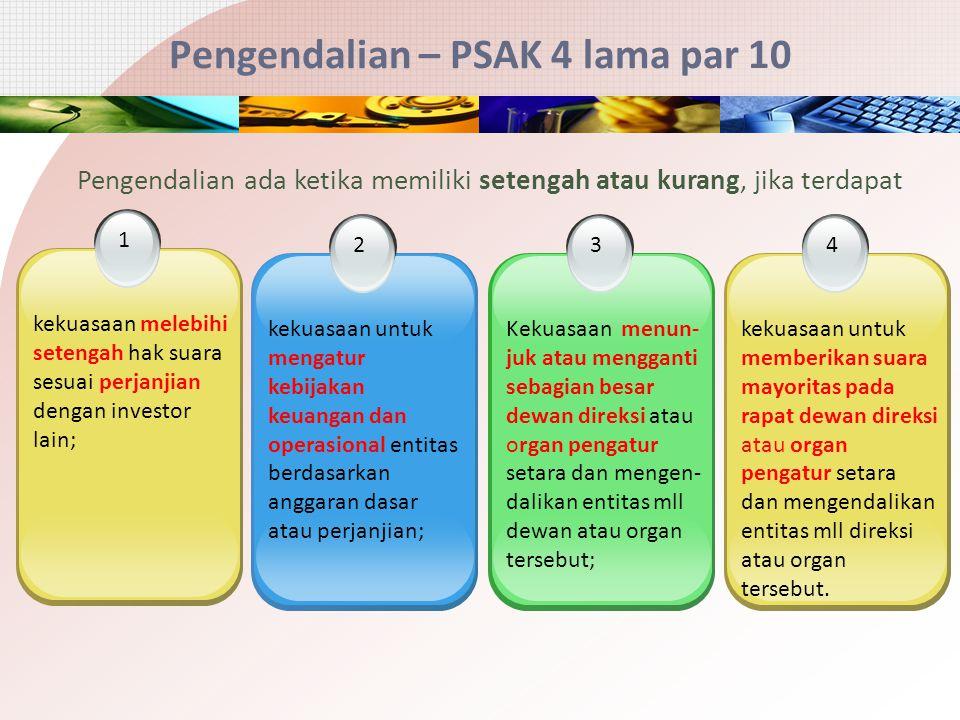 Pengendalian – PSAK 4 lama par 10 2 kekuasaan untuk mengatur kebijakan keuangan dan operasional entitas berdasarkan anggaran dasar atau perjanjian; 3