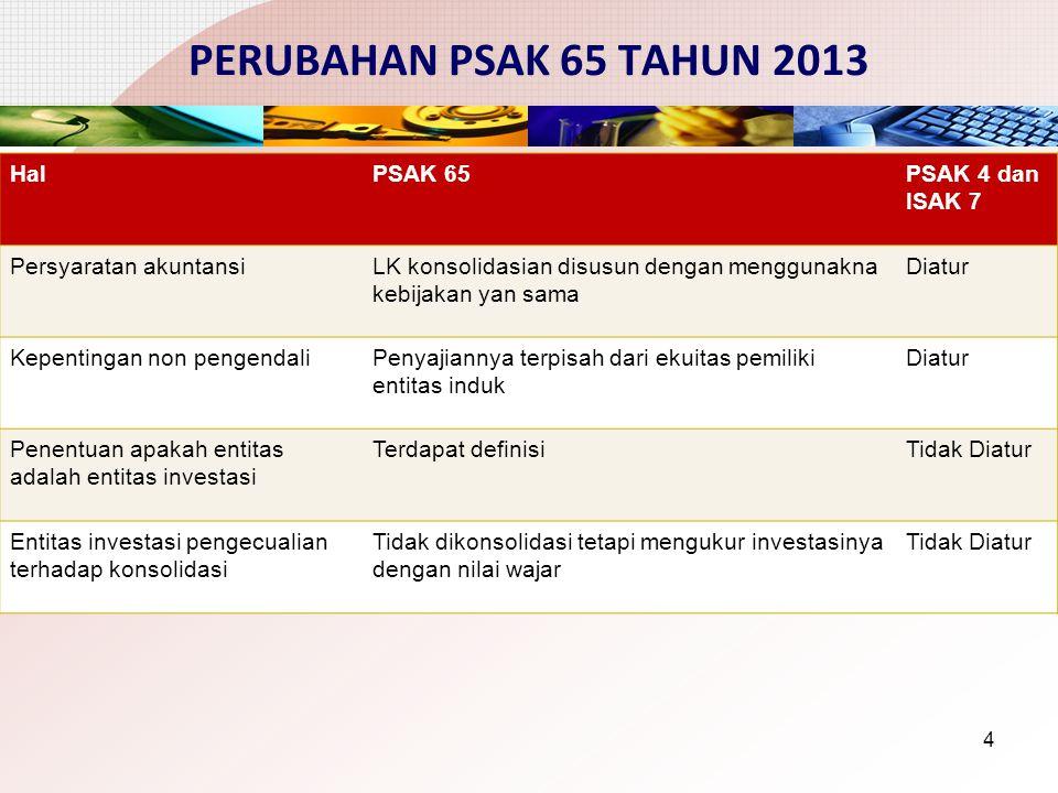 PERUBAHAN PSAK 65 TAHUN 2013 4 HalPSAK 65PSAK 4 dan ISAK 7 Persyaratan akuntansiLK konsolidasian disusun dengan menggunakna kebijakan yan sama Diatur