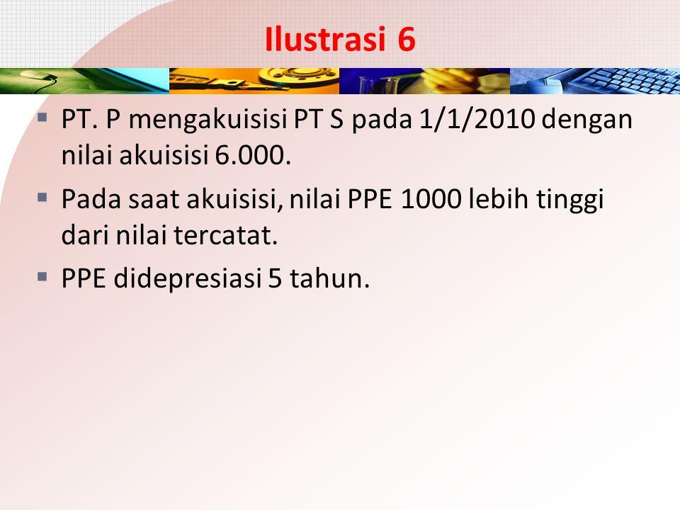 Ilustrasi 6  PT. P mengakuisisi PT S pada 1/1/2010 dengan nilai akuisisi 6.000.  Pada saat akuisisi, nilai PPE 1000 lebih tinggi dari nilai tercatat