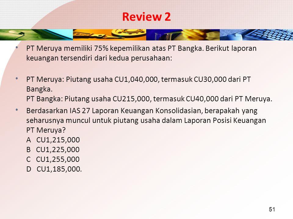 Review 2 PT Meruya memiliki 75% kepemilikan atas PT Bangka. Berikut laporan keuangan tersendiri dari kedua perusahaan: PT Meruya: Piutang usaha CU1,04