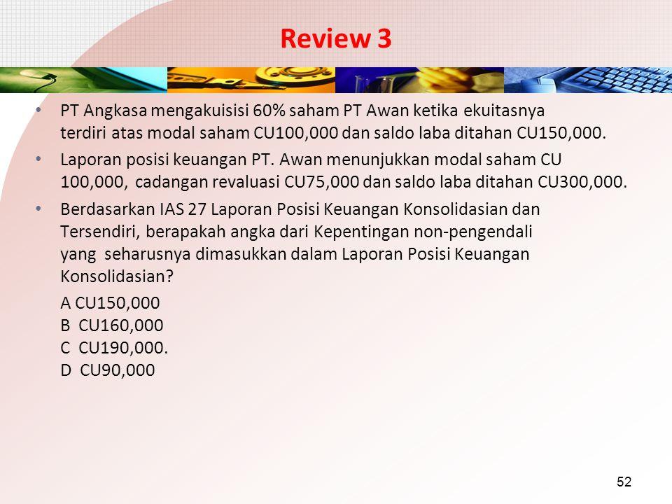 Review 3 PT Angkasa mengakuisisi 60% saham PT Awan ketika ekuitasnya terdiri atas modal saham CU100,000 dan saldo laba ditahan CU150,000. Laporan posi