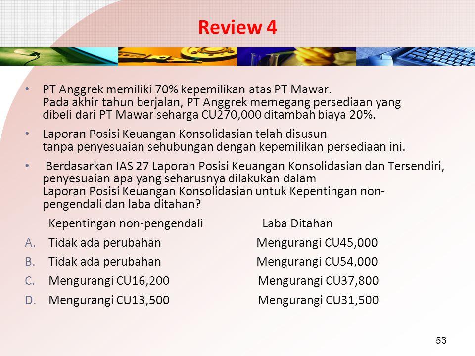 Review 4 PT Anggrek memiliki 70% kepemilikan atas PT Mawar. Pada akhir tahun berjalan, PT Anggrek memegang persediaan yang dibeli dari PT Mawar seharg