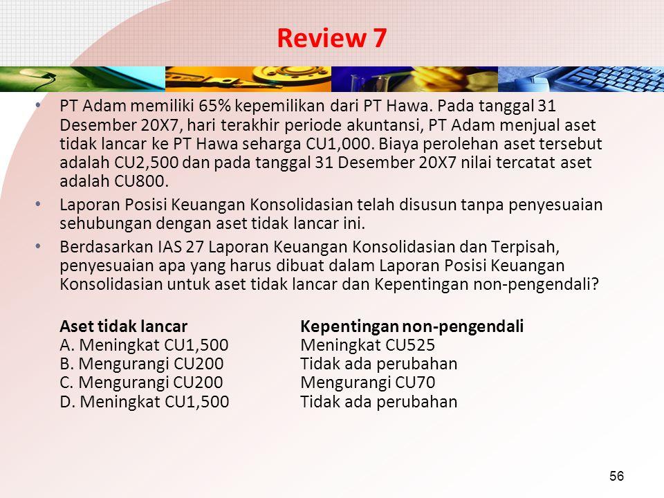 Review 7 PT Adam memiliki 65% kepemilikan dari PT Hawa. Pada tanggal 31 Desember 20X7, hari terakhir periode akuntansi, PT Adam menjual aset tidak lan