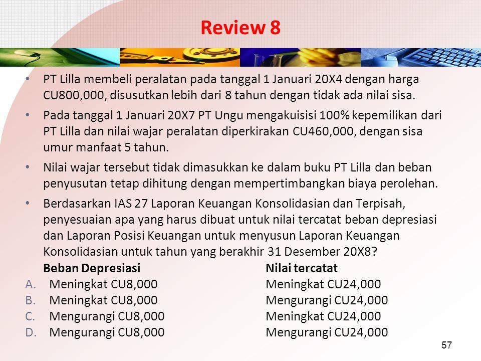 Review 8 PT Lilla membeli peralatan pada tanggal 1 Januari 20X4 dengan harga CU800,000, disusutkan lebih dari 8 tahun dengan tidak ada nilai sisa. Pad
