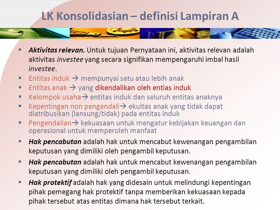 LK Konsolidasian – definisi Lampiran A  Aktivitas relevan. Untuk tujuan Pernyataan ini, aktivitas relevan adalah aktivitas investee yang secara signi
