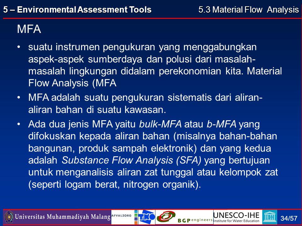 5 – Environmental Assessment Tools 34/57 MFA suatu instrumen pengukuran yang menggabungkan aspek-aspek sumberdaya dan polusi dari masalah- masalah lin