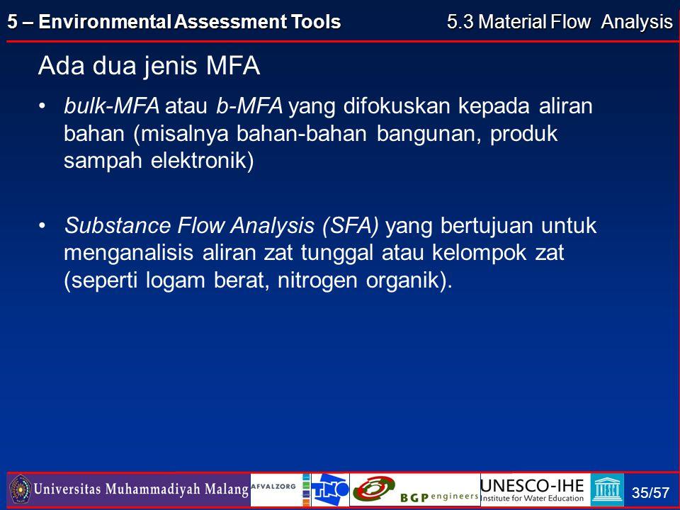 5 – Environmental Assessment Tools 35/57 Ada dua jenis MFA bulk-MFA atau b-MFA yang difokuskan kepada aliran bahan (misalnya bahan-bahan bangunan, pro
