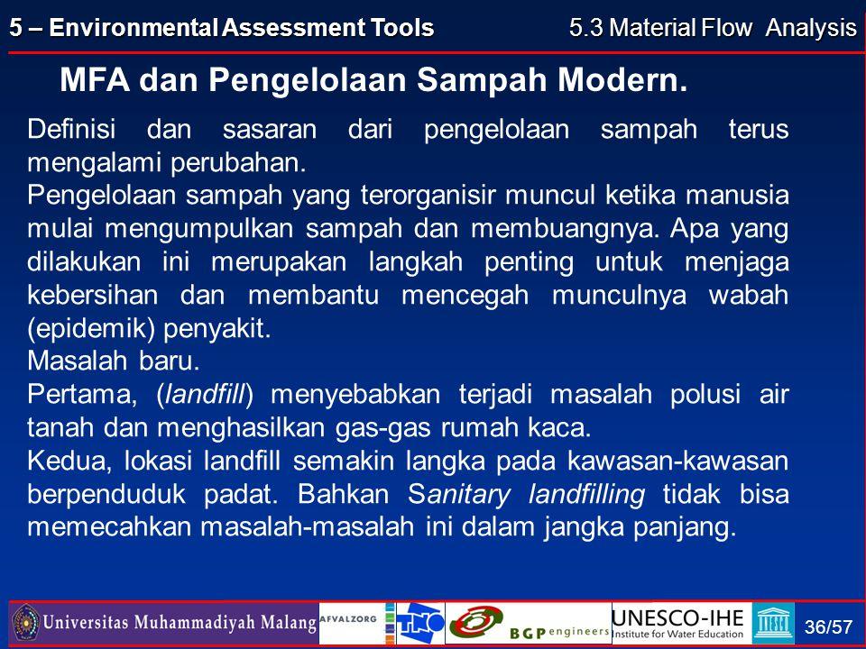 5 – Environmental Assessment Tools 36/57 MFA dan Pengelolaan Sampah Modern. 5.3 Material Flow Analysis Definisi dan sasaran dari pengelolaan sampah te