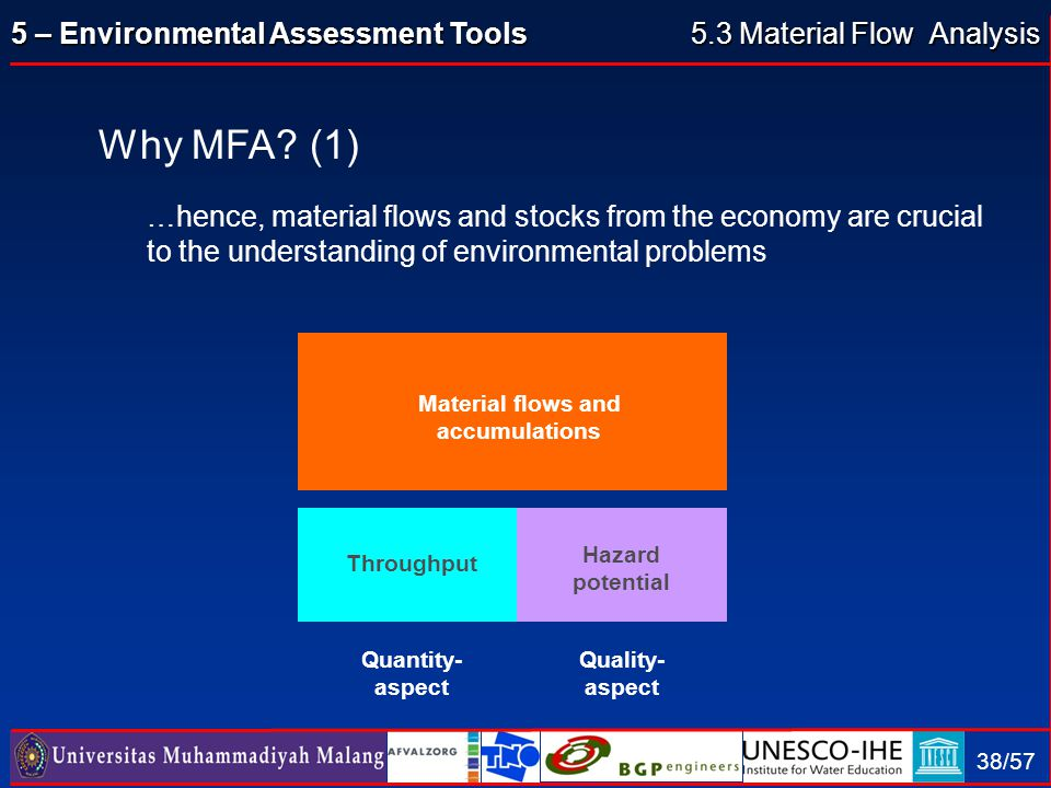 5 – Environmental Assessment Tools 38/57 Why MFA? (1) …hence, material flows and stocks from the economy are crucial to the understanding of environme