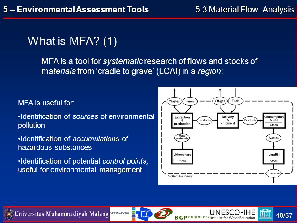 5 – Environmental Assessment Tools 40/57 What is MFA? (1) MFA is a tool for systematic research of flows and stocks of materials from 'cradle to grave