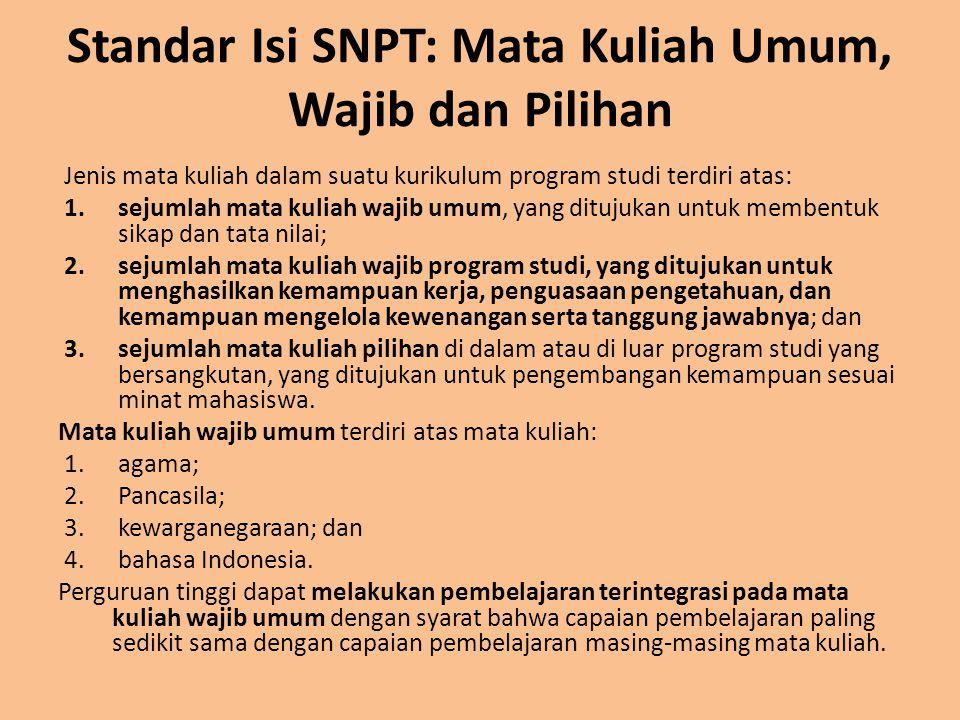 Standar Isi SNPT: Mata Kuliah Umum, Wajib dan Pilihan Jenis mata kuliah dalam suatu kurikulum program studi terdiri atas: 1.sejumlah mata kuliah wajib