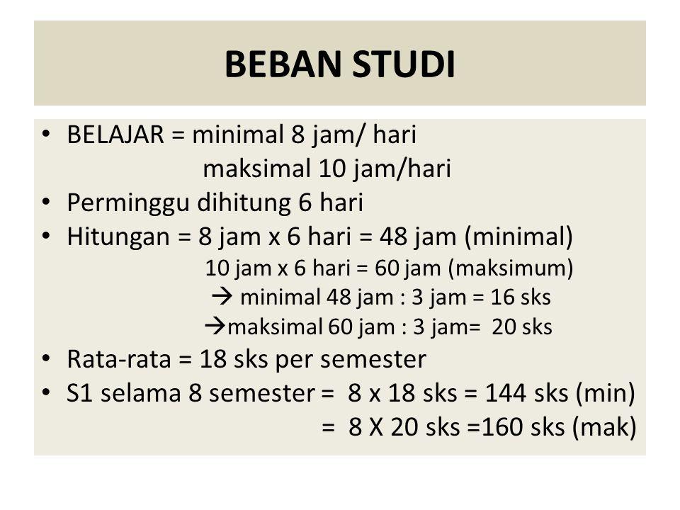 BEBAN STUDI BELAJAR = minimal 8 jam/ hari maksimal 10 jam/hari Perminggu dihitung 6 hari Hitungan = 8 jam x 6 hari = 48 jam (minimal) 10 jam x 6 hari