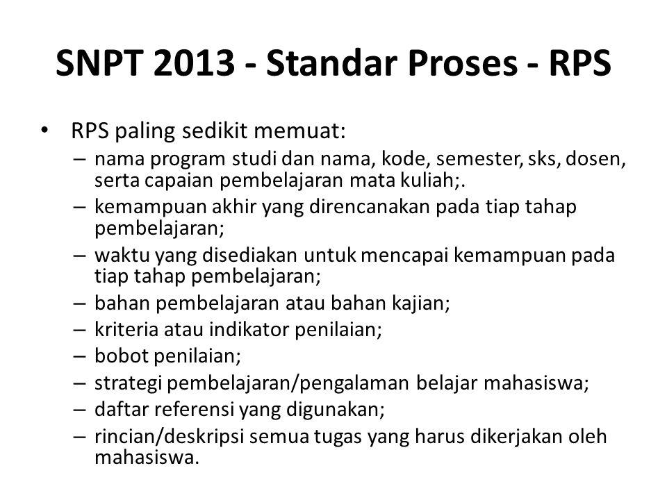 SNPT 2013 - Standar Proses - RPS RPS paling sedikit memuat: – nama program studi dan nama, kode, semester, sks, dosen, serta capaian pembelajaran mata