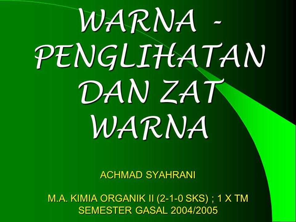 WARNA - PENGLIHATAN DAN ZAT WARNA ACHMAD SYAHRANI M.A.