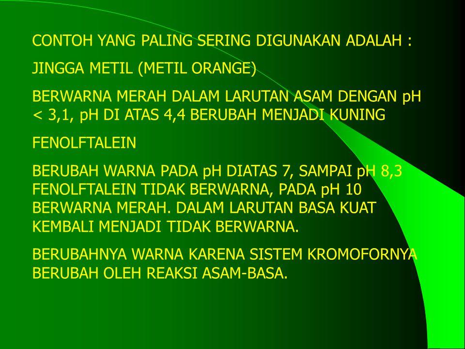 CONTOH YANG PALING SERING DIGUNAKAN ADALAH : JINGGA METIL (METIL ORANGE) BERWARNA MERAH DALAM LARUTAN ASAM DENGAN pH < 3,1, pH DI ATAS 4,4 BERUBAH MENJADI KUNING FENOLFTALEIN BERUBAH WARNA PADA pH DIATAS 7, SAMPAI pH 8,3 FENOLFTALEIN TIDAK BERWARNA, PADA pH 10 BERWARNA MERAH.