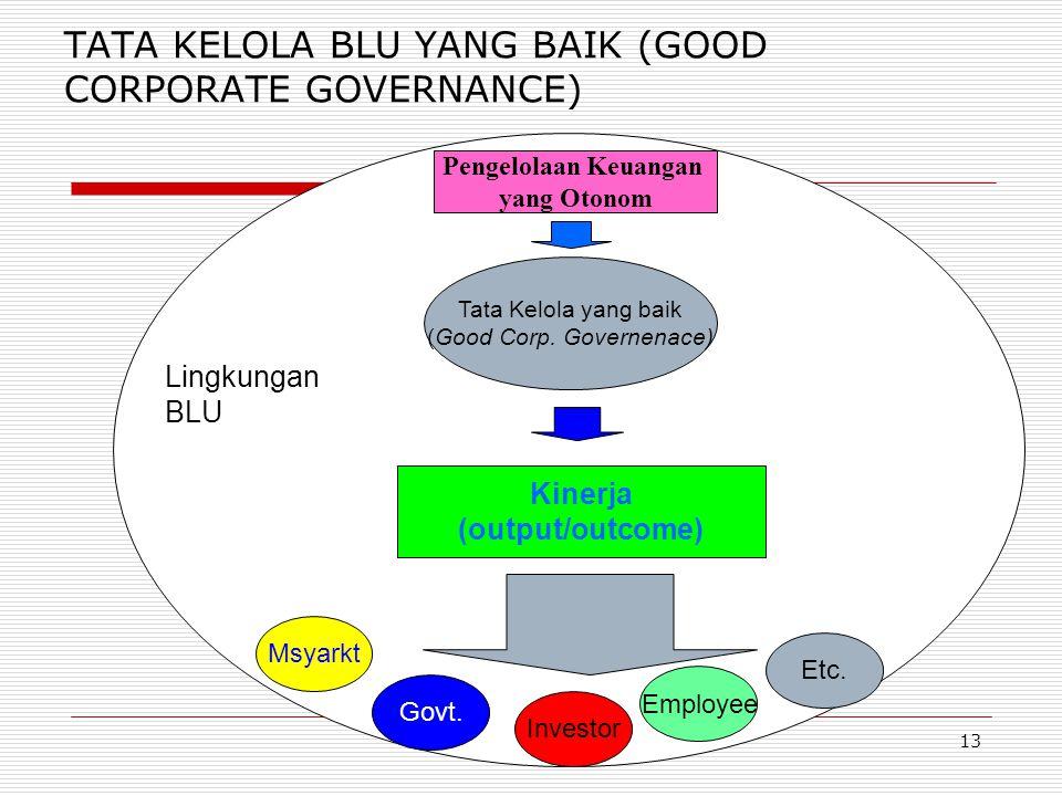 12 Karakteristik BLU 1. Berkedudukan sebagai lembaga pemerintah (bukan kekayaan negara yang dipisahkan) 2. Menghasilkan barang/jasa yang seluruhnya/ s
