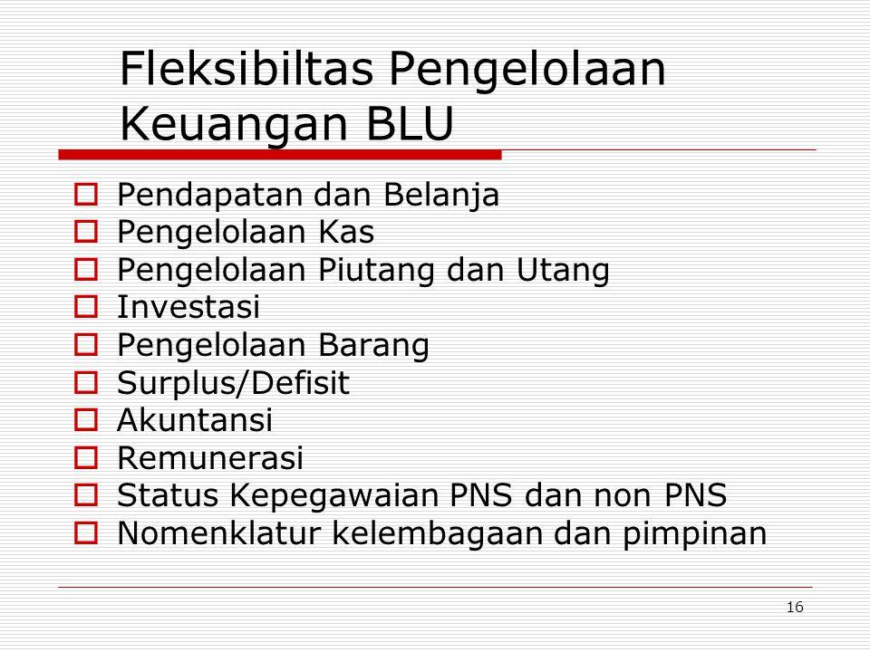 15 Persyaratan BLU  Persyaratan substantif BLU, fungsi dasar pelayanan publik  Persyaratan teknis BLU diatur oleh Kementerian/Lembaga teknis  Persyaratan keuangan/administratif diatur oleh Menteri Keuangan