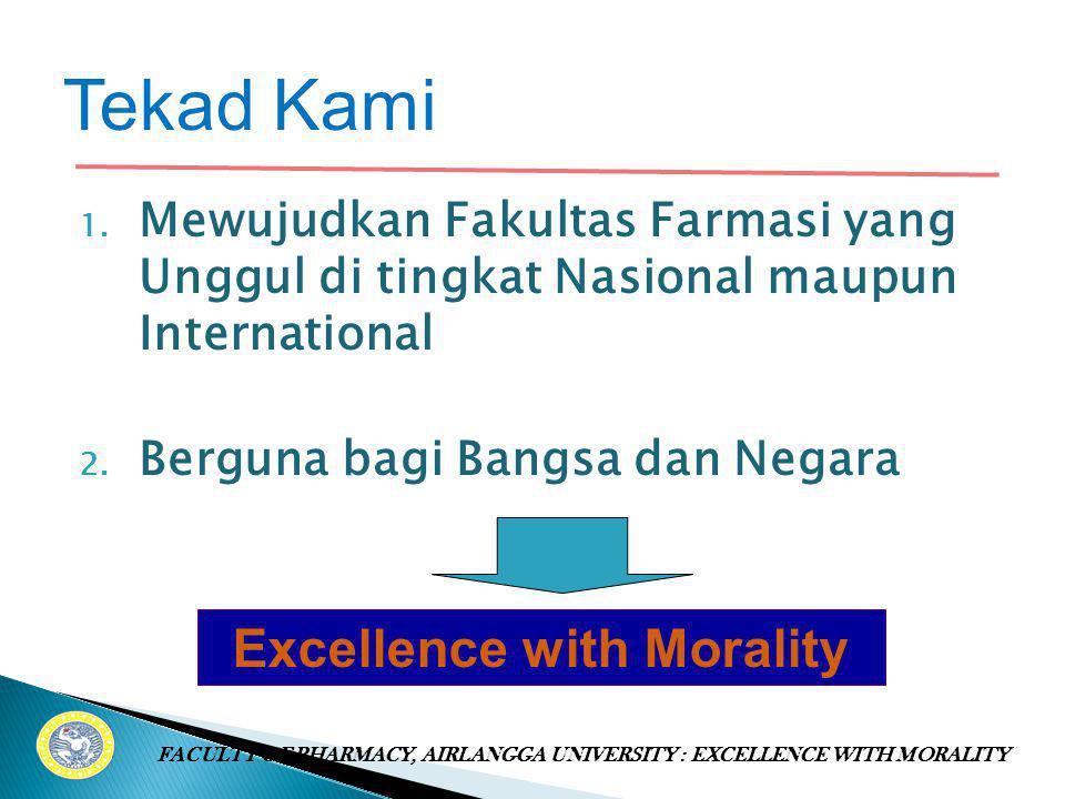 1.Mewujudkan Fakultas Farmasi yang Unggul di tingkat Nasional maupun International 2.