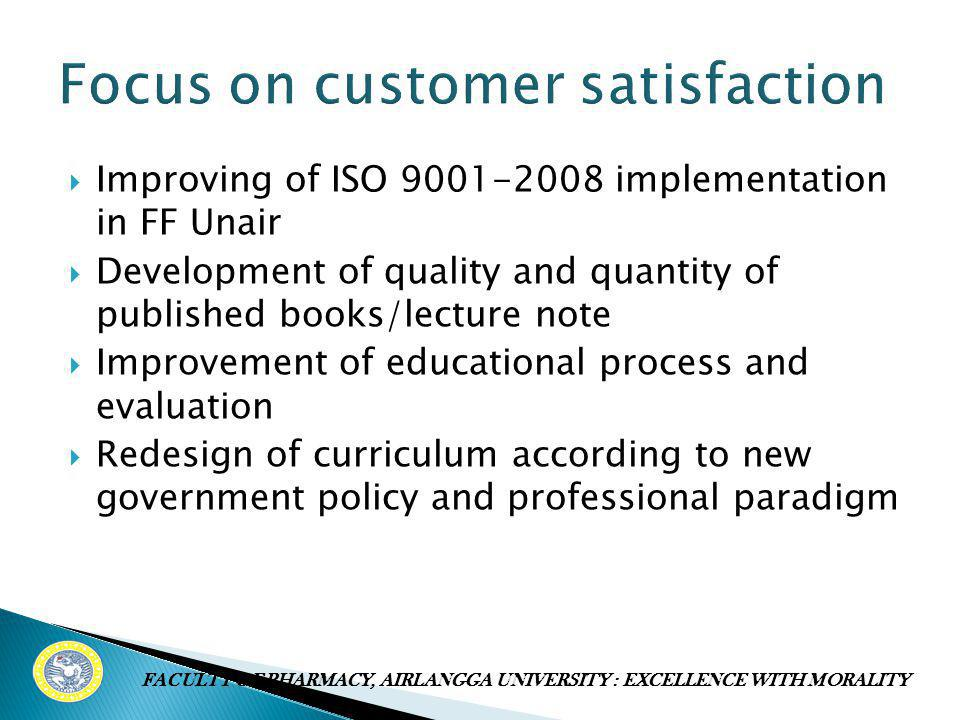  Improving of ISO 9001-2008 implementation in FF Unair  Development of quality and quantity of published books/lecture note  Improvement of educati