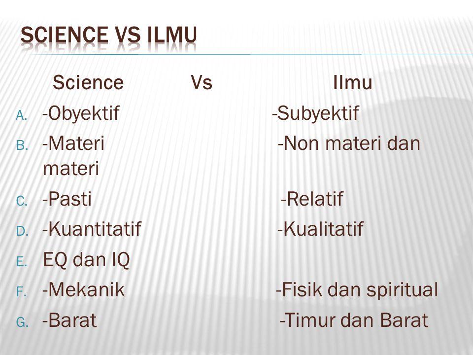 Science Vs Ilmu A.-Obyektif -Subyektif B. -Materi -Non materi dan materi C.