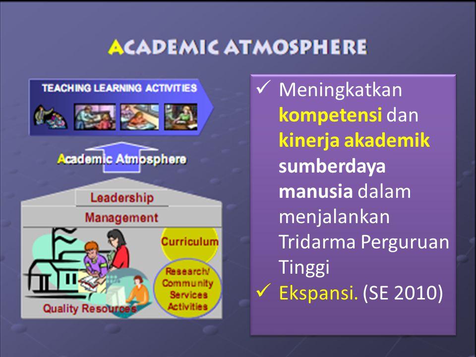 Meningkatkan kompetensi dan kinerja akademik sumberdaya manusia dalam menjalankan Tridarma Perguruan Tinggi Ekspansi.