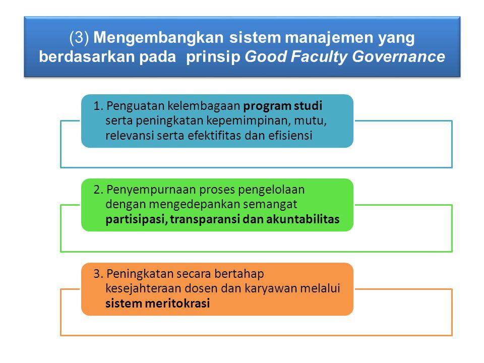 (3) Mengembangkan sistem manajemen yang berdasarkan pada prinsip Good Faculty Governance 1.