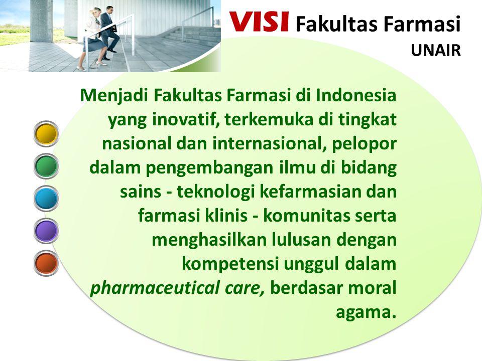 Menjadi Fakultas Farmasi di Indonesia yang inovatif, terkemuka di tingkat nasional dan internasional, pelopor dalam pengembangan ilmu di bidang sains - teknologi kefarmasian dan farmasi klinis - komunitas serta menghasilkan lulusan dengan kompetensi unggul dalam pharmaceutical care, berdasar moral agama.