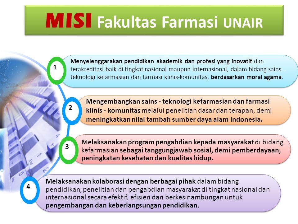 MISI Fakultas Farmasi UNAIR 1 Menyelenggarakan pendidikan akademik dan profesi yang inovatif dan terakreditasi baik di tingkat nasional maupun internasional, dalam bidang sains - teknologi kefarmasian dan farmasi klinis-komunitas, berdasarkan moral agama.