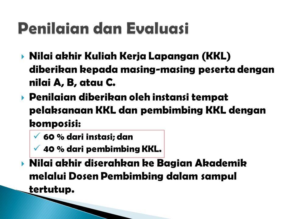  Nilai akhir Kuliah Kerja Lapangan (KKL) diberikan kepada masing-masing peserta dengan nilai A, B, atau C.  Penilaian diberikan oleh instansi tempat
